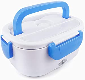 Blue Electric Lunch Box - Portable Food Warmer Heating Stainless Steel Container, Thermal Food Warmer For Car, Truck, Home & Office Use. Electrical Heated Lunchbox