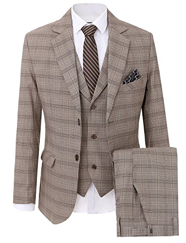 Lilis Men's Fashion Plaid Modern Fit 3-Piece Suit Blazer Jacket Tux Vest & (Plaid Wool Blend Blazer)