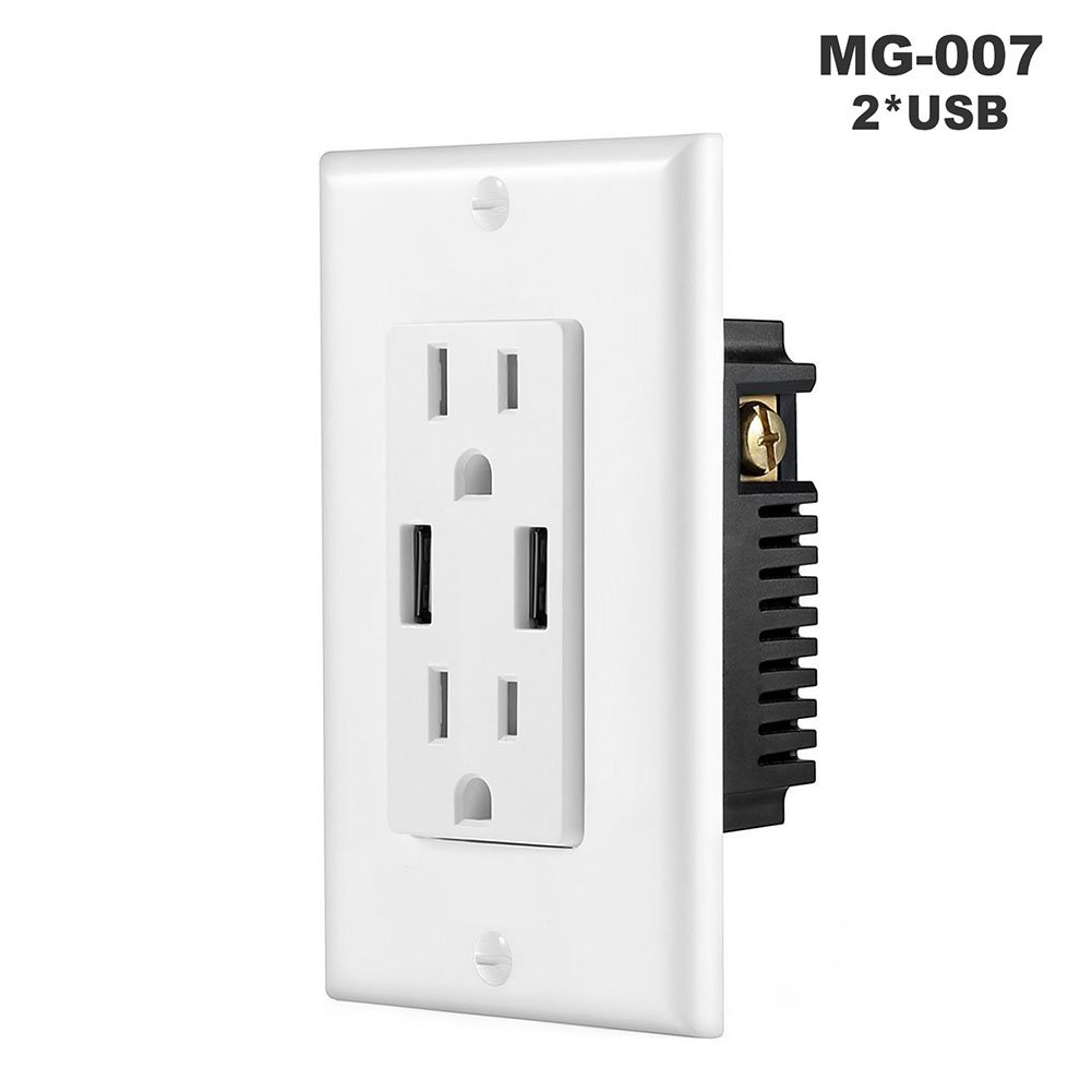Zehui Duplex Receptacle Tamper Resistant Wall Socket Plate Double USB High Speed Safety Charger US Plug