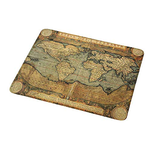 Mouse Pad Unique Custom World Map,Ancient Old Chart Vintage Reproduction of 16th Century Atlas Print,Sand Brown Slate Blue,Mousepad Great for Laptop,Computer 9.8