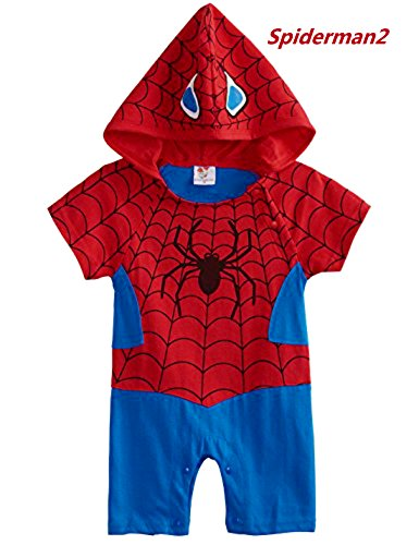 [Baby Superhero Jumpsuit With Removable Cape (0-3 Months, Spiderman2)] (Superhero Costumes Pictures)