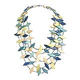 AeraVida Dancing Rhombus Shape Resin Coco Palm Wood Nickel Free Base Metal Necklace