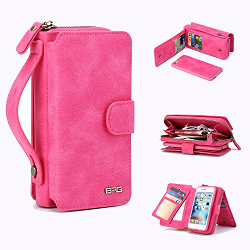 iPhone 6 Plus Case,6 Plus Wallet Case PU Leather Mirror Case Flip Folio Cover Zipper Purse Clutch with 11 Card Slot for iPhone 6/6S Plus (Pink-6/6S Plus)