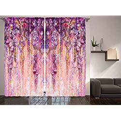 Ambesonne Spring Flowers Decor Curtain by, Wisteria Blossoms Watercolor Effect and Bubble Design, Window Drapes 2 Panel Set for Living Room Bedroom, 108 X 84 Inches, Purple Navy Blue Ivory and Lilac