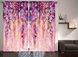 Ambesonne Spring Flowers Decor Curtain, Wisteria Blossoms Watercolor Effect and Bubble Design, Window Drapes 2 Panel Set for Living Room Bedroom, 108 X 90 Inches, Purple Navy Blue Ivory and Lilac