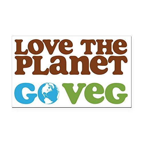 CafePress - Love The Planet Go Veg - Rectangle Car Magnet, Magnetic Bumper Sticker