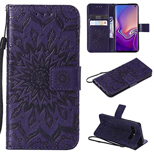 Price comparison product image NOMO Galaxy S10 Plus Case, Samsung S10 Plus Wallet Case, Galaxy S10 Plus Flip Case PU Leather Emboss Mandala Sun Flower Folio Magnetic Kickstand Cover with Card Slots for Samsung Galaxy S10 Plus Purple
