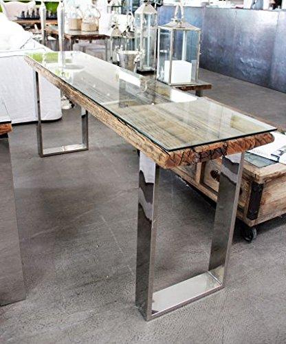 Konsolentisch Frozen, Holzplatte mit Glas abgedeckt und polierten Stahlfüßen (B40xL160xH75cm.)