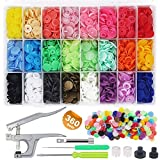 EuTengHao 1440Pcs Plastic Snap Buttons No-Sew Snap Fasteners T5 Snaps with Snaps Pliers Kit for Clothing Sewing,Rain Coat,Bibs,Clothes Crafting(24 Colors,360Sets)