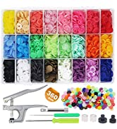 EuTengHao 1440Pcs Plastic Snap Buttons No-Sew Snap Fasteners T5 Snaps with Snaps Pliers Kit for C...