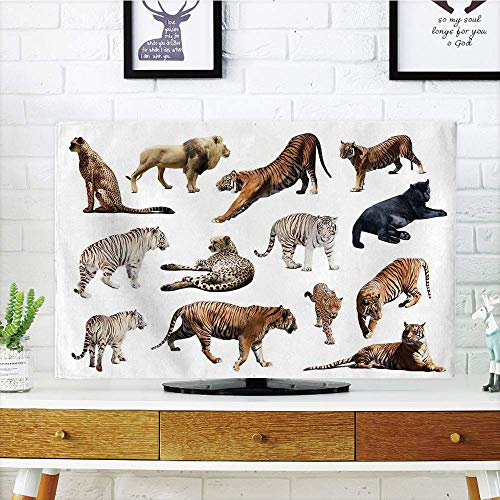 VANKINE LCD TV dust Cover Customizable,Safari Decor,Collection of Tigersand Other Big Wild Cats Predatory Feline Zoo Lying Standing Background,Graph Customization Design Compatible 50