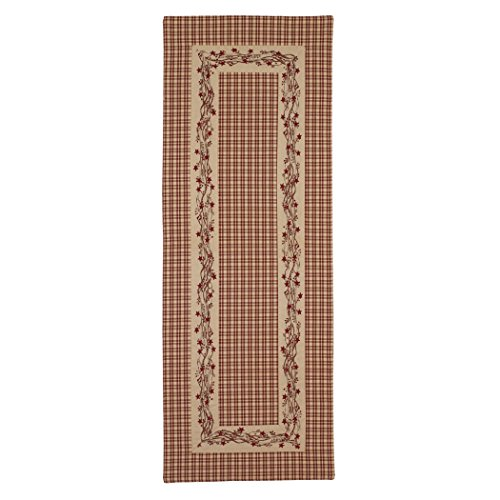 - Red Farmhouse Berry Border 13 x 36 Cotton Embroidered Applique Table Runner