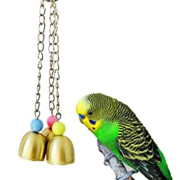 Bird Bells Toy for Parrot Macaw African Greys Cockatoo Budgies Parakeet Cockatiels Conure Lovebird Cage Toy