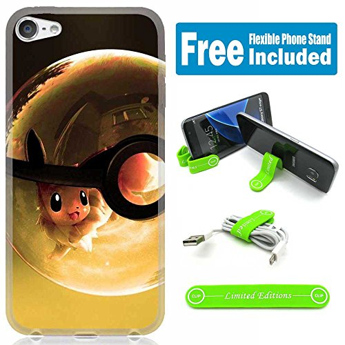 [Ashely Cases] Apple iPod Touch 5th/6th Generation Cover Case Skin with Flexible Phone Stand - Pokemon Pokeball Bubble - Ipod Touch Pokemon Case