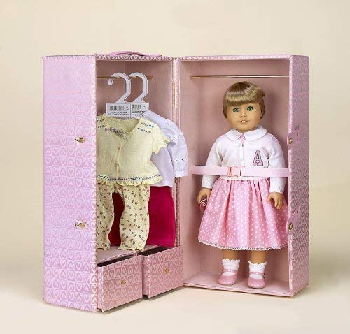 "Diana Collection Pink Hearts Doll Trunk for 18"" American Girl Bitty Baby Bitty Twins and Similar Dolls"