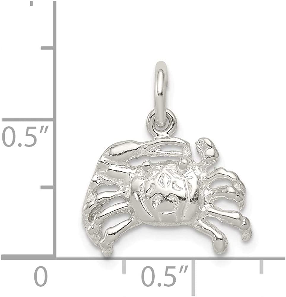 15mm x 17mm Solid 925 Sterling Silver Crab Charm Pendant