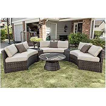 Curved Outdoor Wicker Rattan Patio Furniture Set W/ Coffee Table (5 Colors!)