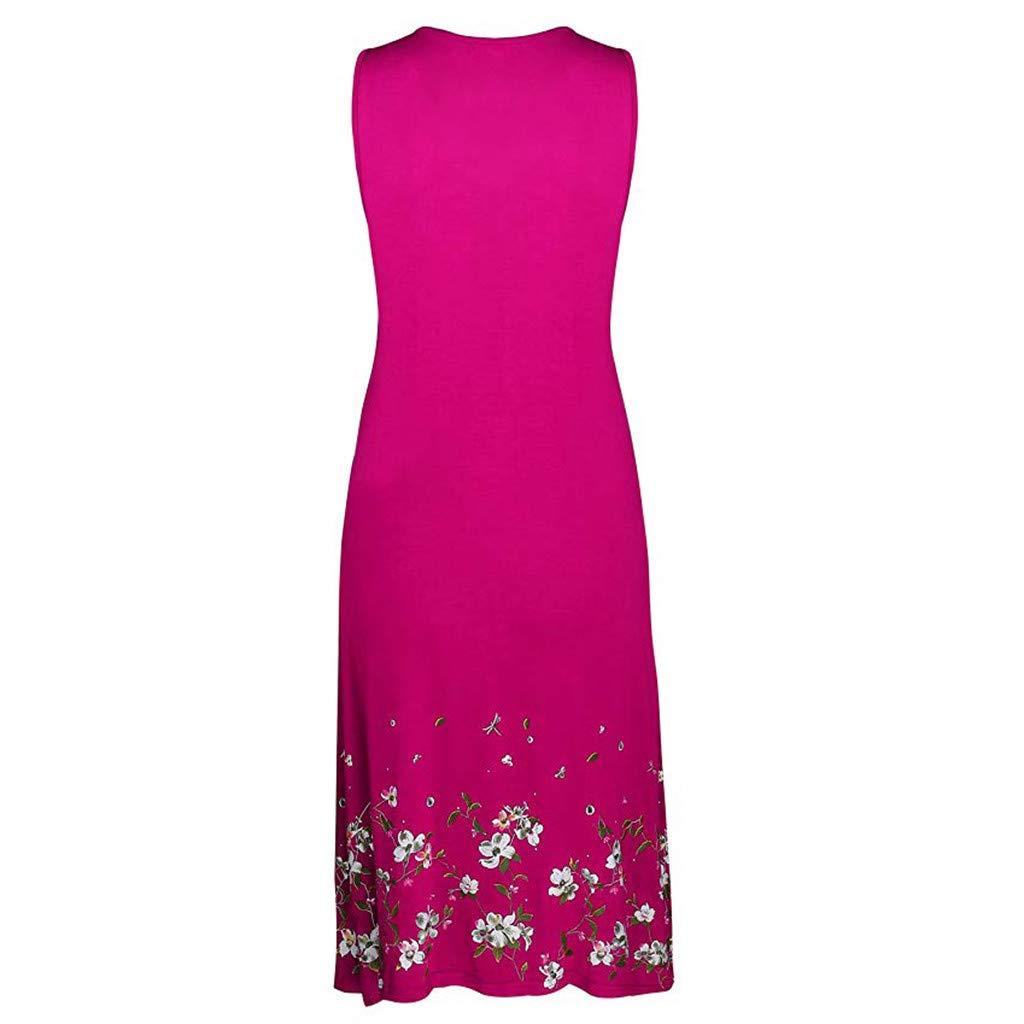 HHmei Women Summer Sleeveless Evening Party Casual Beach Dress Short Dress Knee-Length