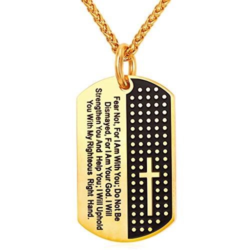 U7 Sereniry Bible Verse Prayer Jewelry Men 18K Gold Plated Vintage Cross Dog Tags Necklace & Pendant, Chain 22