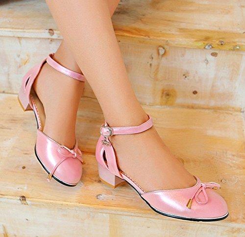 Aisun Womens Mignon Bout Rond Couvert Talons Cheville Sangle Boucle Talons Bas Sandales Chaussures Avec Noeuds Rose