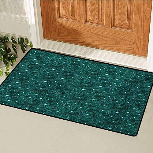 GUUVOR Turquoise Inlet Outdoor Door mat Floral Arrangement Vintage Flower Bouquet Baroque Inspired Foliage Ornamental Design Catch dust Snow and mud W35.4 x L47.2 Inch Teal