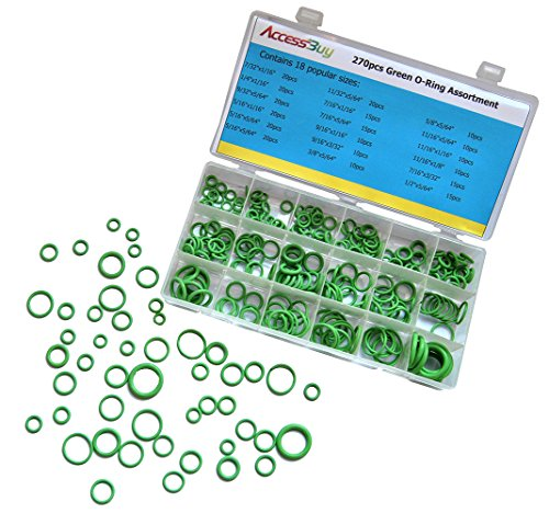 Accessbuy 270 pcs Green Rubber HNBR O-ring Assortment Kit automotive For Insulation Gasket Washer Seals faucet shower head/caddy Car Vehicle Replacement