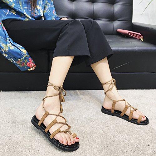 punta fondo cinturino in e con eleganti confortevoli B con YMFIE e antiscivolo sandali a nappa Sandali gqzwPP