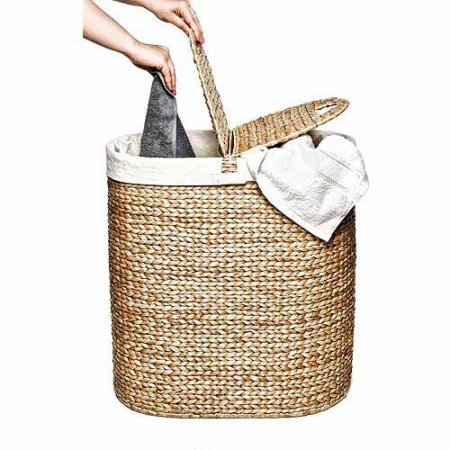 Hand-Woven Water Hyacinth Oval Double Hamper, Brown/Off-White - Hand Woven Oval Basket
