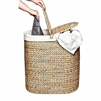 Hand-Woven Water Hyacinth Oval Double Hamper, Brown/Off-White -  - laundry-room, hampers-baskets, entryway-laundry-room - 5168XxwQdAL. SS400  -
