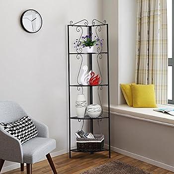 Topeakmart 4 Tier Metal Art Corner Storage Display Shelves Free Standing Bathroom Corner Shelf Rack Kitchen Shelving Unit,Black