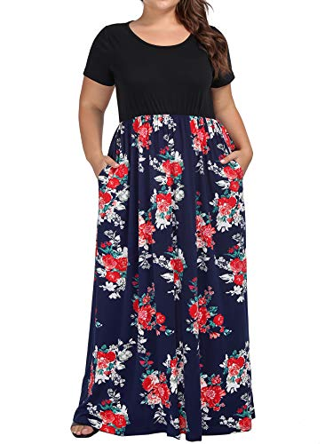 - kissmay Spring Maxi Dresses for Women Plus Size, Flower Printing Summer Beach Casual Dress for Daily Miss Maternity Cozy Black Wedding Relaxed Fit Flared Floor Length Dress Retro Classy Navy Red 2XL