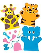 """Baker Ross Handpoppennaaisets """"jungledieren"""" (4 stuks) AW545 – voor kinderen om te naaien – knutselwerk met vilten onderdelen en decoraties"""
