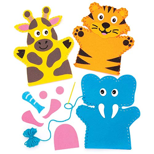 Baker Ross Jungle Animal Hand Puppet Sewing Kit for Kids (Pack of 4) AW642, Craft Felt Pieces and Decorations for Children to Sew