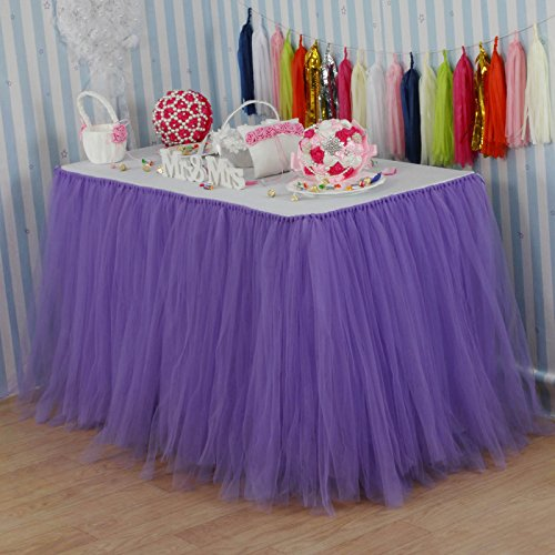 Vlovelife Lavender Tulle Table Skirt Tutu Tableware TableCloth Party Baby Shower Birthday Wedding Decorations Favor 100cm X 80cm Customized Size (Wedding Favor Tulle Shower)