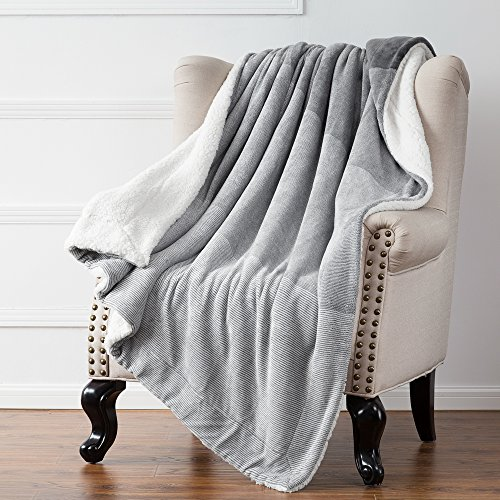 Sherpa Throw Blankets Gradient Grey Bed Blankets, Reversible Fuzzy Soft Cozy and Warm Sofa Fluffy Blanket, 60