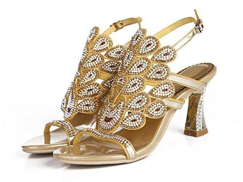 Tacón Boda Hecho Paseo a Diamante Mujer real imitación Nupcial Sandalias ZPL Estampado mano Noche Pavo Medio de Gold Señoras gT8znZwqO