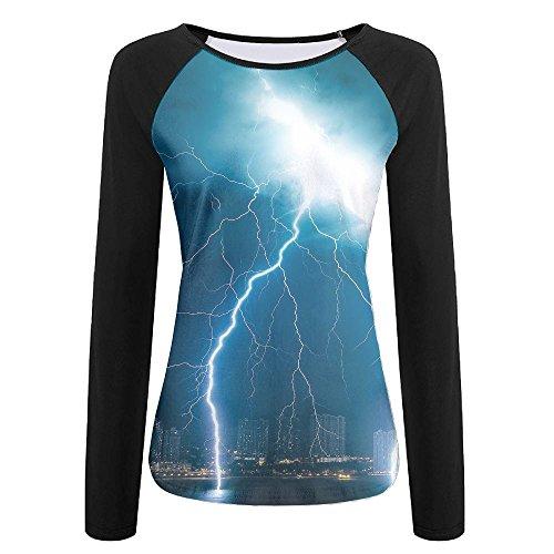 (Womens Thunderstorm Lightning Cozy Raglan Long Sleeve Tshirts Soft Quick-dry Pullover Sweatshirt For Athletic Jogging Hiking Baseball Jersey Tee Shirt)