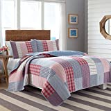 Nautica Furling Red Quilt Set, King, Red Blue