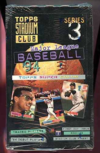 1994 Topps Stadium Club Baseball Card Series 3 Three '94 94 set Wax Pack Box 3' Wax