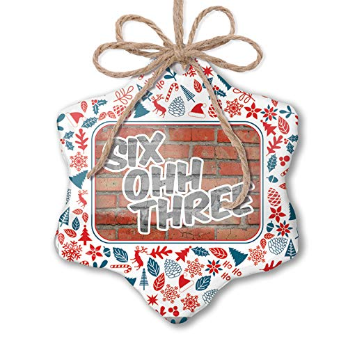 NEONBLOND Christmas Ornament 603 Manchester, NH Brick Red White Blue Xmas (Christmas Manchester Nh)