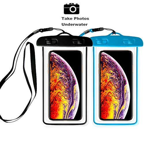 [2pack] Universal Waterproof Case, IPX8 Waterproof Phone Pouch Dry Bag Compatible for iPhone Xs Max/XS/XR/X/8/8P/7/7P Galaxy,Upto 6.0