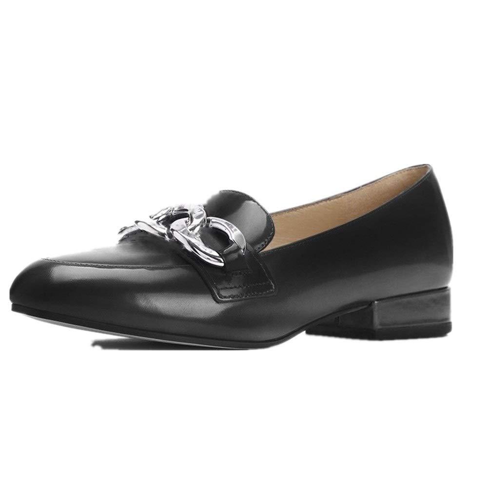 Noir Lindarry Style Britannique Penny Loafer for Le Travail Commercial des Femmes Oxford Glisse sur Le Cuir Verni à Talons Bas Vamp Decor avec chaîne (Couleur   Vin Rouge, Taille   39 EU)