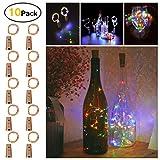 Sanniu Bottles Lights, 10 Packs Imitation Cork Copper Starry Wine Bottle Fairy Lights, Battery Powered Multi Color Wire Bottle Lights for Bedroom, Parties, Wedding, Decoration(2m/7.2ft Multi Color)