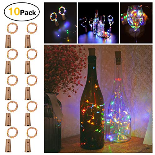 Sanniu Bottles Lights, 10 Packs Imitation Cork Copper Starry Wine Bottle Fairy Lights, Battery Powered Multi Color Wire Bottle Lights for Bedroom, Parties, Wedding, Decoration(2m/7.2ft Multi Color)