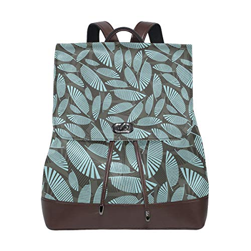 Fashion Shoulder Bag Rucksack PU Leather Women Girls Ladies Backpack Travel Bag Pattern Tropical Leaves Bulk Small (Tablets Reveal 60)