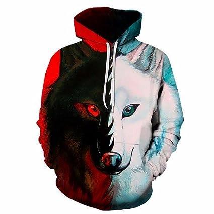 Wish Sportswear Animal Impreso en 3D Los Hombres Lobo Hoodie Primavera y otoño, suéter gráfico