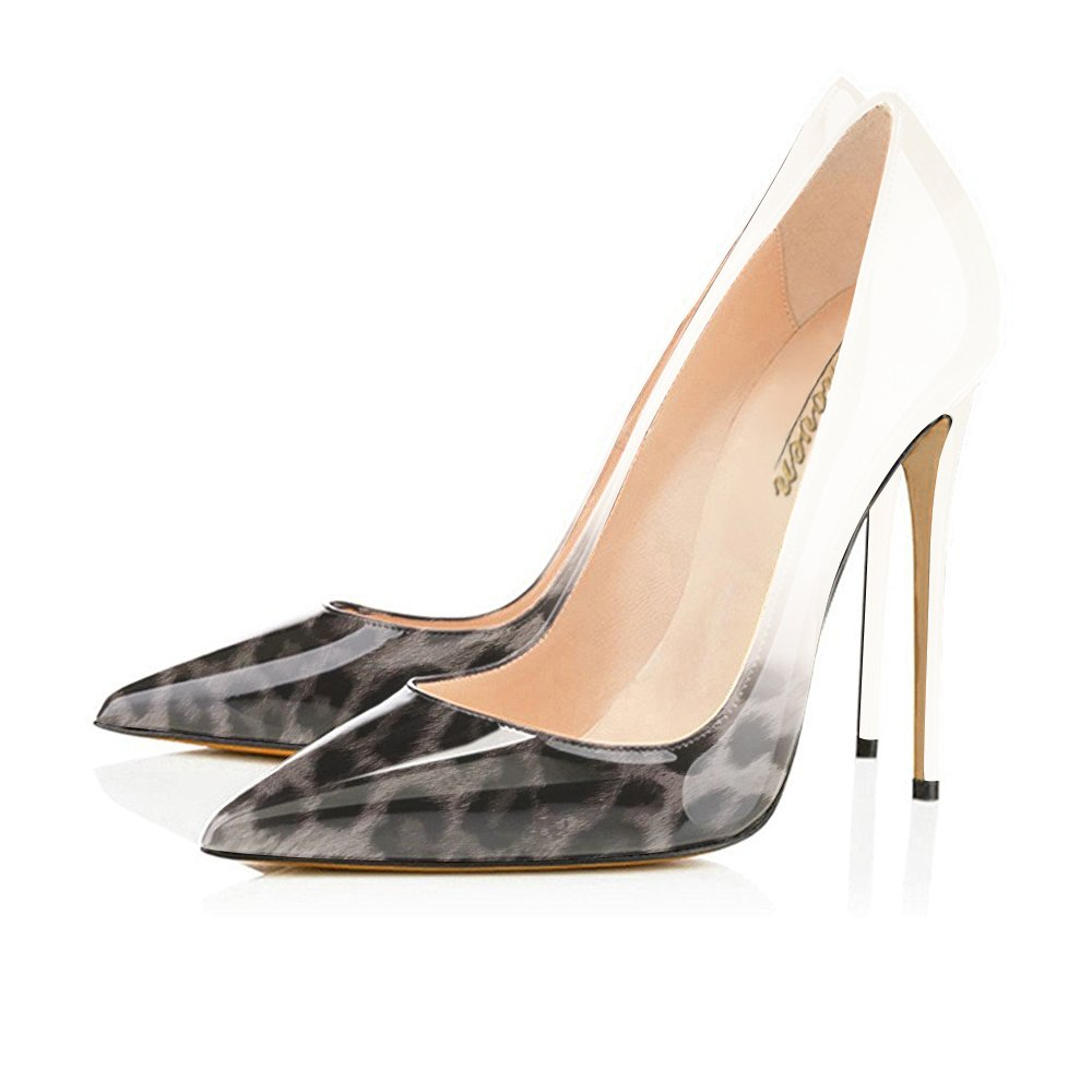 Modemoven Women's Pointy Toe High Heels Slip On Stilettos Large Size Wedding Party Evening Pumps Shoes B0711RV4XF 8 B(M) US|Gray Leopard