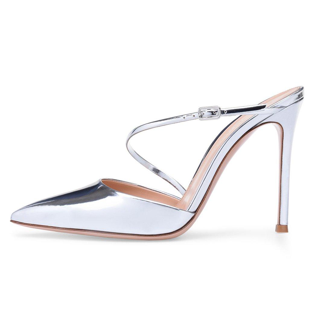 LYY.YY Frauen Silber Spitzen Muller Schuhe High Heel Sandalen Mode Damenschuhe Wies Schuhe Pailletten Slipper (Absatzhöhe  11-13Cm)