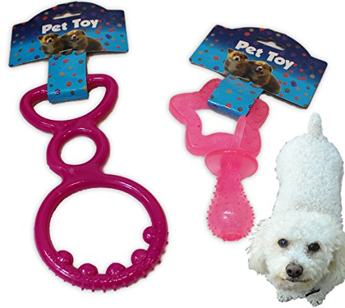 2 Pack - Rubber Dog / Puppy Chew Toys. Spike & Pull Tug of War Pet Toy AND - Star & Pacifier, Perfect for teething puppies, Pink