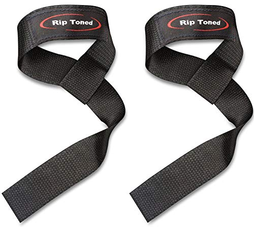 (Rip Toned Lifting Wrist Straps (Pair) - Cotton - Neoprene Padded - for Weightlifting, Bodybuilding, Xfit, Strength Training, Powerlifting, MMA)